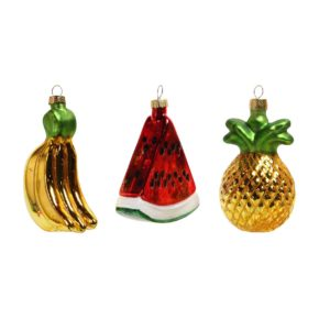 &k set 3 fruit ornaments