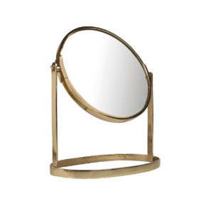 &k mirror on stand gold large
